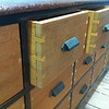 Vintage Chest of Drawers : In the early 1900's my great-grandfather built a blanket chest.  Throughout the years, the chest, which at some point had been repurposed as a tool box, was handed down from generation to generation.  By the time I inherited it from my father, it was in very poor repair.  I carefully disassembled the cabinet and stored the components in anticipation of using them again and preserving this sentimental collection of lumber.  An empty wall in my family room provided the perfect opportunity to build a chest of drawers utilizing some of the vintage lumber which I had preserved.  I wanted to build a piece of furniture which looked as old as the lumber which will ensure it's family heirloom status.  Some creative finishing techniques were definitely in order.